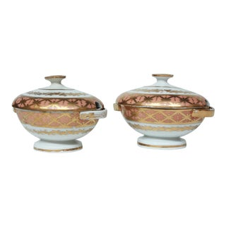 Pair 19th Century English Porcelain Sauce Tureens For Sale