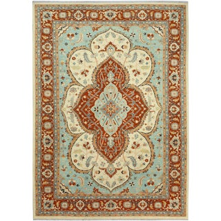 "Kafkaz Peshawar Rudolf Ivory/Rust Wool Rug - 10'1"" X 13'11"" For Sale"