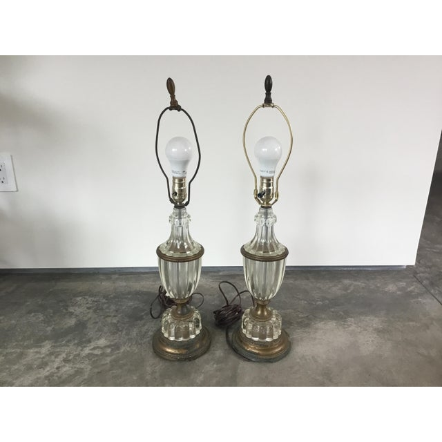 Bronze 1900s Glass Table Lamps - a Pair For Sale - Image 8 of 10