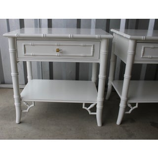 Professionally Lacquered Thomasville Faux Bamboo Chinoiserie Allegro Nightstands-A Pair Preview