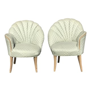 1920's Vintage Art Deco Shell Back Boudoir Chairs- A Pair For Sale