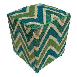 Arshs Deidra Ivory/Green Kilim Upholstered Handmade Ottoman For Sale