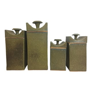 Tyrone Larsen Cranbrook Ceramic Canisters - Set of 4 For Sale