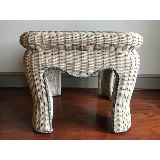 Antique White Boho Chic White Washed Wicker Side Table For Sale - Image 8 of 9