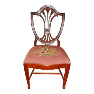 Antique Hepplewhite Mahogany With Needlepoint Seat Side Chair For Sale