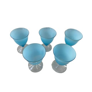 Moretti Mid-Century Cased Turquoise Glasses - Set of 5 For Sale