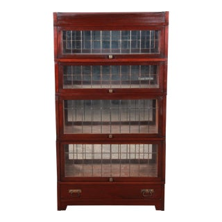 Globe Wernicke Four-Stack Barrister Bookcase With Leaded Glass Doors, Circa 1920s For Sale