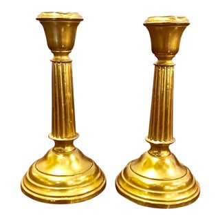 19th C. English Brass in Regency Style Candlesticks - a Pair For Sale