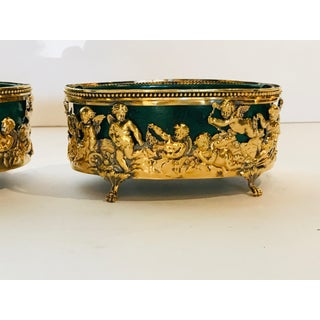 Brass Cache Pots With Faux Malachite Liners - a Pair Preview