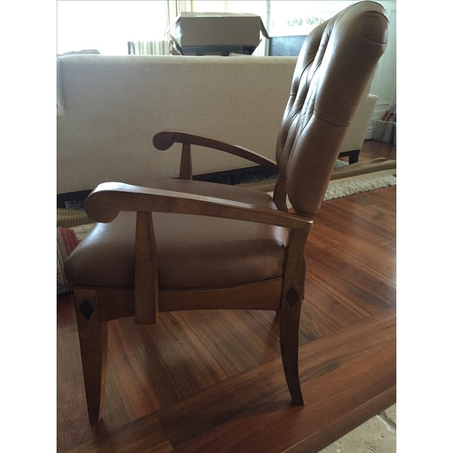 Brown Leather Parlor Chair - Image 3 of 5