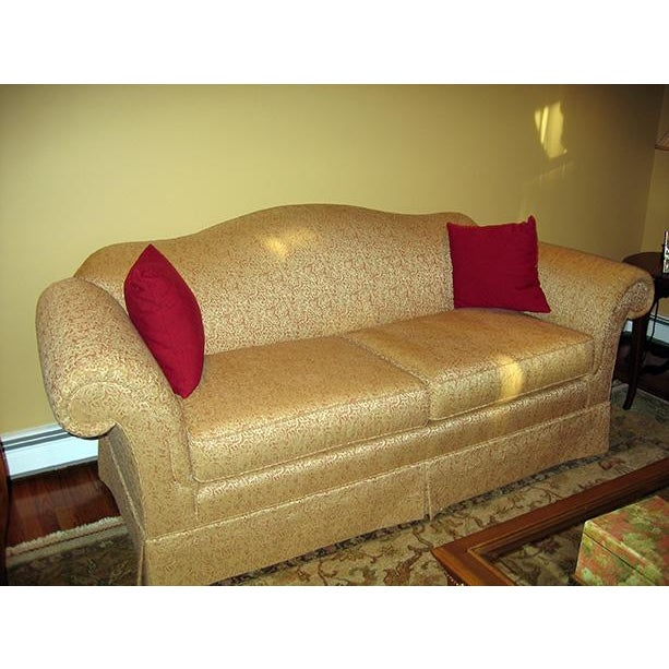 Custom Made Gold Peach Floral Sofa - Image 3 of 5