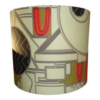 """Art Deco 8"""" Inch Dia. Lamp Shade With Designer Fabric - for Vintage Lamps For Sale"""