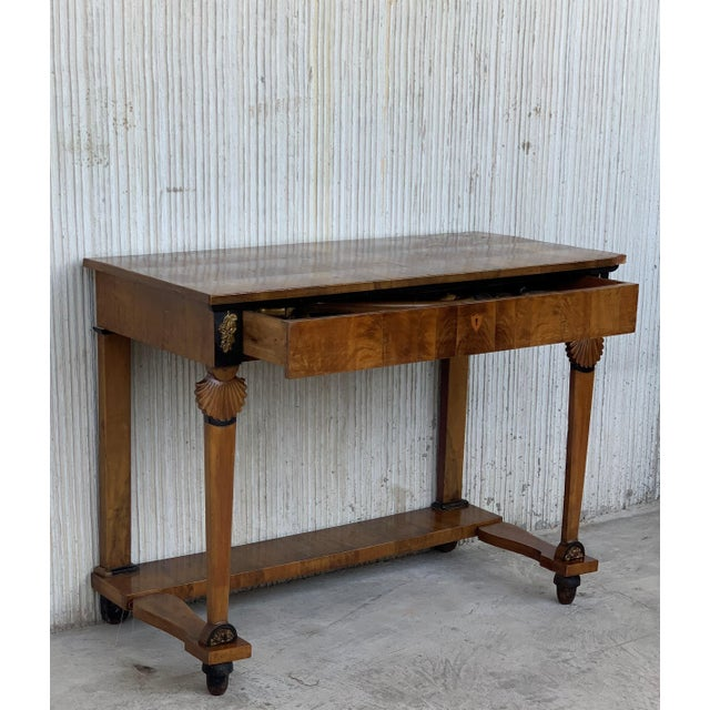 Biedermeier Antique French Empire Fruitwood Console Table With Drawer, Early 19th Century For Sale - Image 3 of 10