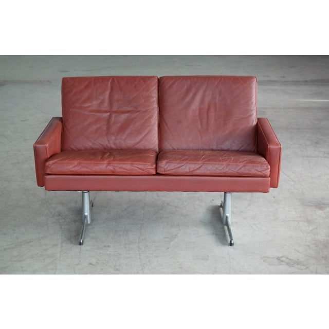 Danish 1960s Two-Seat Airport Sofa in Red Leather For Sale - Image 4 of 9