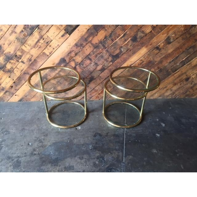 Vintage Swivel Brass Glass Side Tables - A Pair For Sale - Image 5 of 8