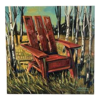 Adirondack Chair Landscape Colorful Painting by James Navarro For Sale