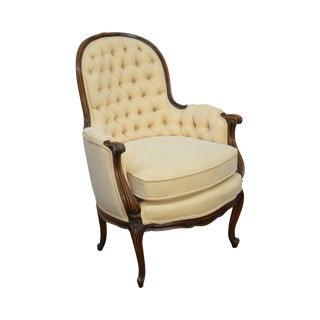 French Louis XV Style Tufted Bergere Chair