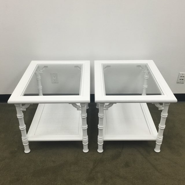 White Faux Bamboo Side Tables - A Pair - Image 2 of 7