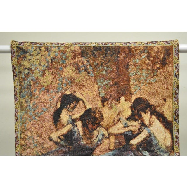 "Item: French wall hanging tapestry featuring ""Dancers in blue"" by Edgar Degas with a floral border. Flush rod strap..."