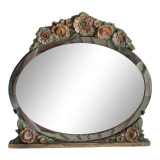 Antique English Barbola Vanity Mirror For Sale