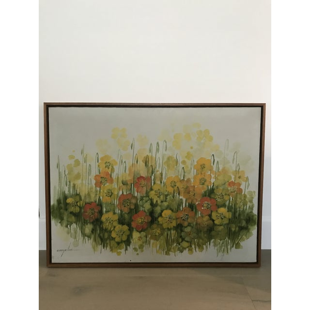This is a vintage original large oil painting on stretched canvas. It is likely from the 1960's or 1970's. It is newly...