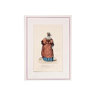 Antique 19th C. French Hand-Tinted Lithograph For Sale