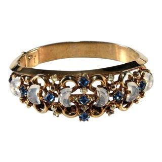 Trifari Clair De Lune Bracelet Blue Rhinestone Glass Moonstone Vintage 1950 For Sale