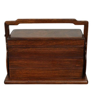 20th Century Chinese Rosewood Hand Craft Lunch Box For Sale
