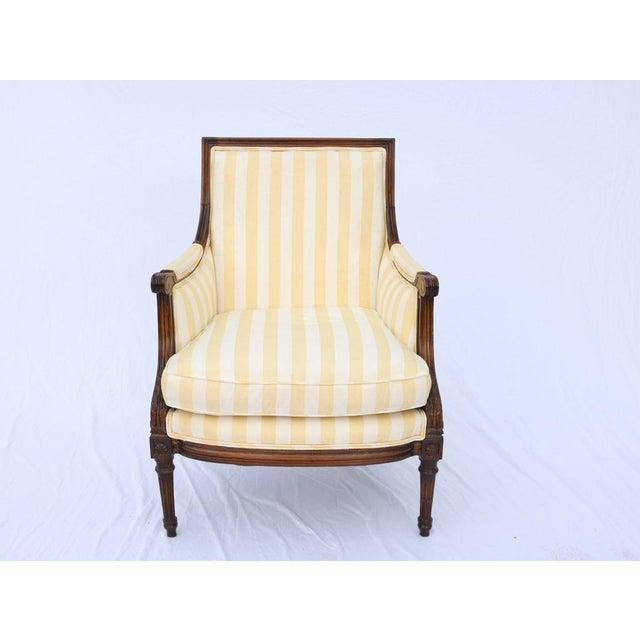 Louis XVI Style Striped Upholstery Walnut Bergère - Image 2 of 11