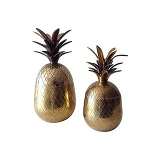 Brass Pineapple Lidded Boxes - A Pair For Sale