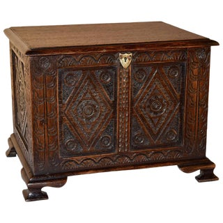 19th Century Carved Miniature Blanket Chest For Sale
