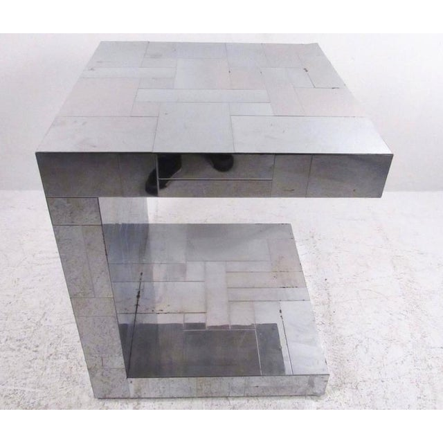 Silver Paul Evans Patchwork Console Table & Wall Mirror - A Pair For Sale - Image 8 of 11
