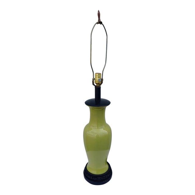 1960s Asian Leviton Green Porcelain Lamp For Sale
