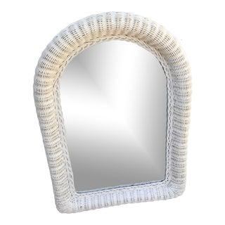Vintage 1970s Coastal White Wicker Arch Mirror For Sale