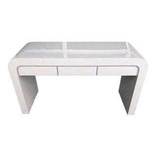 1980s Contemporary Gray Laminate Waterfall Desk For Sale