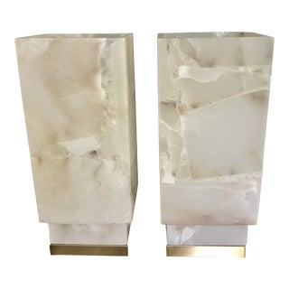 Contemporary Alabaster Table Lamps - a Pair For Sale