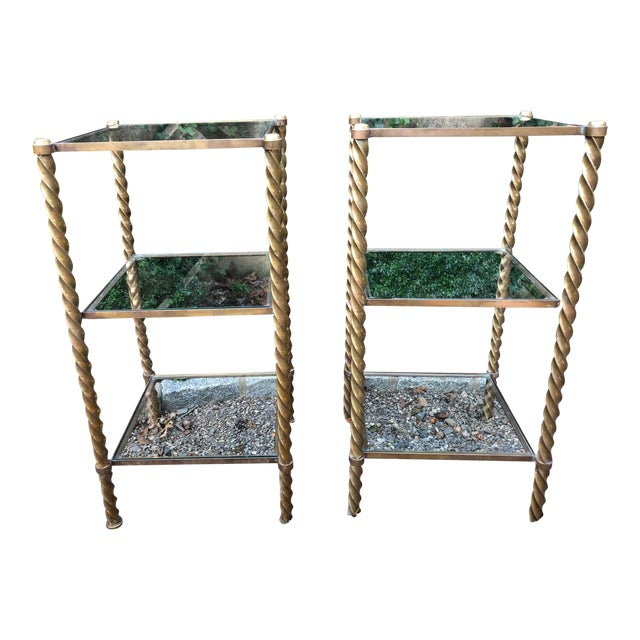 1970's Mid-Century Modern Brass and Glass Etageres-a Pair For Sale
