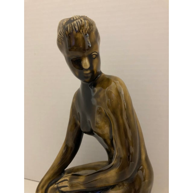 Ceramic 1970's Female Nude Ceramic Sculpture on Base by Thai Celadon For Sale - Image 7 of 12