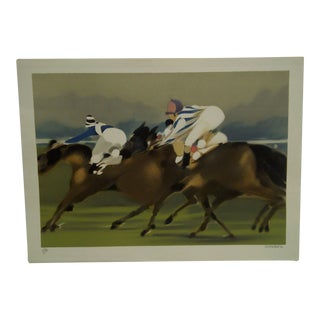 """""""Taking the Turn"""" Signed Horse Race Print"""