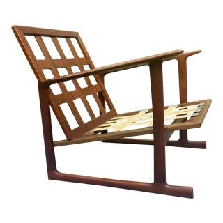 Lb Kofod Larsen for Selig Lattice Back Walnut Sled Chair For Sale