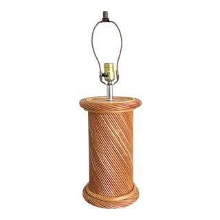Mid 20th Century Pencil Reed Rattan Column Table Lamp For Sale