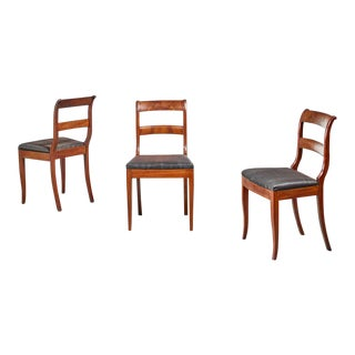 Set of 3 Karl Johan Style Sidechairs With Horsehair Seat, Sweden, 19th Century For Sale
