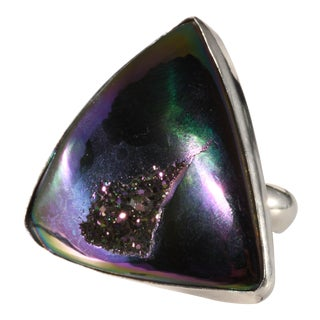 Obsidian Brand Ring Sterling Silver Triangle Purple Druzy For Sale