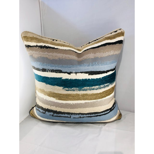 "A beautiful pair of 19"" square abstract pillows from Robert Allen fabrics. Woven with a luxe cotton, this large scaled..."