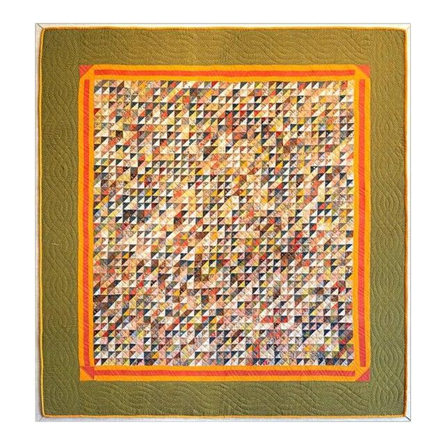 Monumental Micro Triangular Cut Feed Sack Folk Art Quilt Mounted on Canvas For Sale