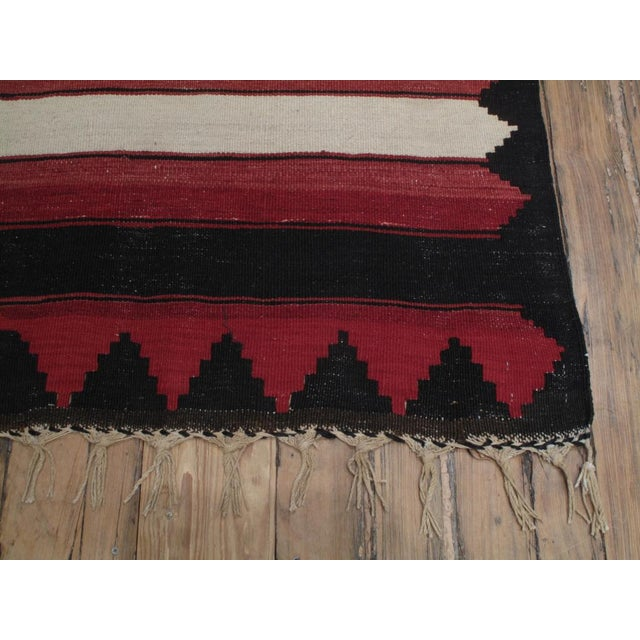 Early 20th Century Red, White & Black Kilim (Wide Runner) For Sale - Image 5 of 6