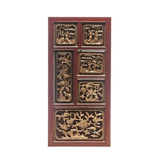 Early 19th Century Large Dao Guang Era Chinese High Relief Wood Gold Gilded Carved Panel For Sale