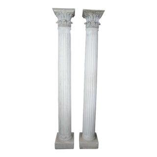 Corinthian Acanthus Roman Greek Concrete Architectural Stone Columns - a Pair For Sale
