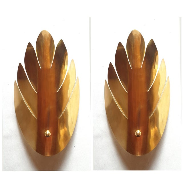 Brass Brass Stylized Leaf Mid Century Modern Sconces, France 1970s, 2 Pairs For Sale - Image 8 of 9