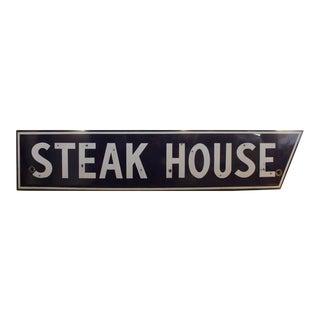 1950's Vintage Porcelain Steak House Sign For Sale